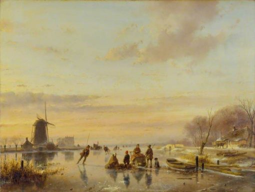 Winter in Holland   Andreas Schelfhout   Oil Painting