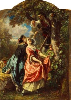 Rousseau and Mlle Galley Gathering Cherries | Camille Joseph Etienne Roqueplan | Oil Painting