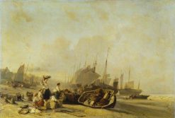 Boats on the Shore at Calais | Eugene Isabey | Oil Painting