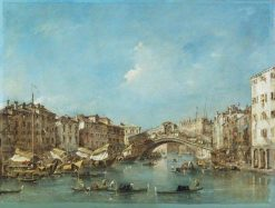 Venice: the Grand Canal with the Riva del Vin and the Rialto Bridge | Francesco Guardi | Oil Painting