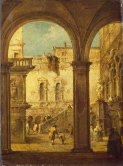 Capriccio with the Courtyard of the Doge's Palace | Francesco Guardi | Oil Painting