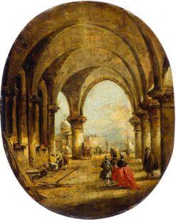 Capriccio with the Arcade of the Doge's Palace and San Giorgio Maggiore | Francesco Guardi | Oil Painting