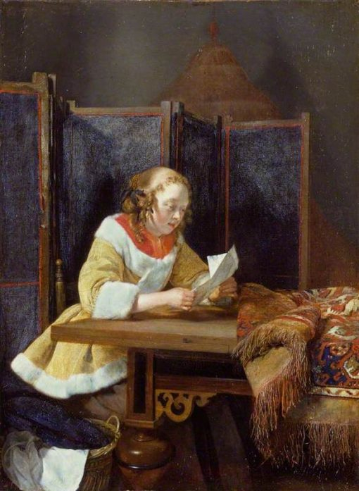 A Lady Reading a Letter   Gerard ter Borch   Oil Painting