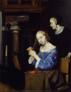 A Lady Dressing her Hair | Gerard ter Borch | Oil Painting