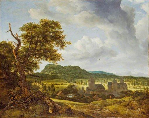 Landscape with a Village   Jacob van Ruisdael   Oil Painting