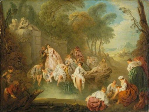 Bathing Party in a Park   Jean Baptiste Pater   Oil Painting