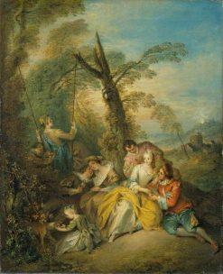 The Swing (La conversation interessant)   Jean Baptiste Pater   Oil Painting