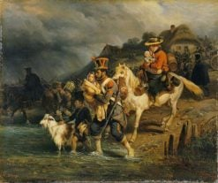 Crossing the Ford | Joseph Louis Hippolyte BellangE | Oil Painting