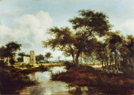 A Ruin on the Bank of a River | Meindert Hobbema | Oil Painting