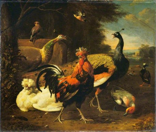 A Cockerel with Other Birds | Melchior d'Hondecoeter | Oil Painting