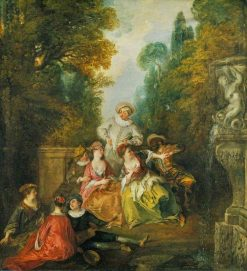 Italian Comedians by a Fountain | Nicolas Lancret | Oil Painting