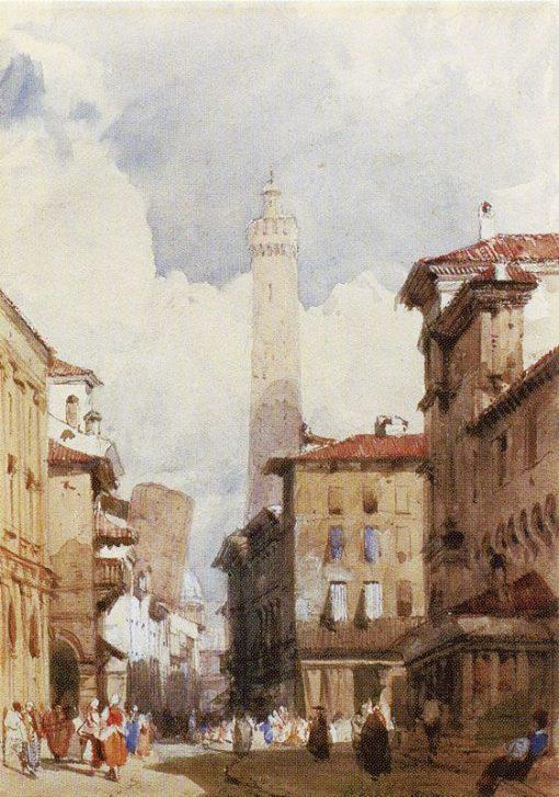 Bologna: The Leaning Towers   Richard Parkes Bonington   Oil Painting