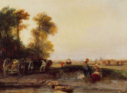 Landscape with Timber Waggon   Richard Parkes Bonington   Oil Painting