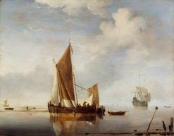 Calm: Fishing Boat at Anchor | Willem van de Velde the Younger | Oil Painting
