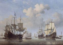 Calm: Dutch Ships Coming to Anchor | Willem van de Velde the Younger | Oil Painting
