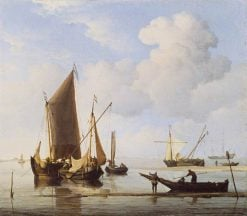 Calm: Fishing Boats at Low Water | Willem van de Velde the Younger | Oil Painting