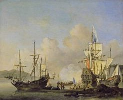 Calm: French Merchant Ships at Anchor | Willem van de Velde the Younger | Oil Painting