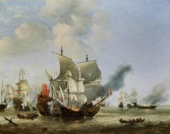 The Burning of the 'Andrew' at the Battle of Scheveningen | Willem van de Velde the Younger | Oil Painting