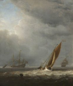 Shipping Scene: A Breeze | Willem van de Velde the Younger | Oil Painting