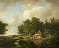 Landscape with a Mill and a Water Wheel | Andreas Schelfhout | Oil Painting