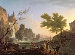 Fishermen in a Landscape with a Cascade and a Bridge | Claude Joseph Vernet | Oil Painting