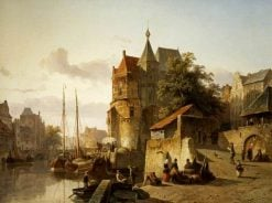 Fortified Buildings on the Banks of a Canal | Cornelis Springer | Oil Painting