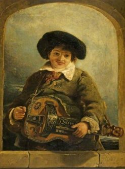 An Italian Boy with a Hurdy-Gurdy | William James Muller | Oil Painting