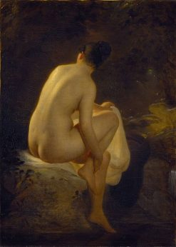 A Girl Bathing | August Riedel | Oil Painting