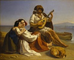 A Neapolitan Fisherman and His Family | August Riedel | Oil Painting