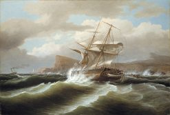 An American Ship in Distress | Thomas Birch | Oil Painting
