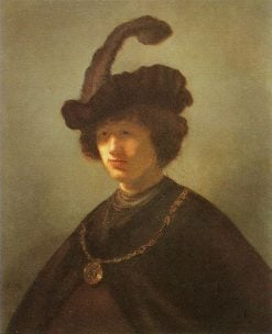 Bust of a Young Man in a Plumed Hat | Rembrandt van Rijn | Oil Painting