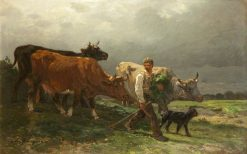 Breton Lad with Cattle | Charles Emile Jacque | Oil Painting