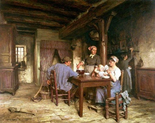 The Midday Meal   LEon Augustin Lhermitte   Oil Painting