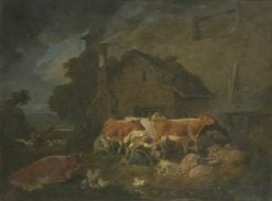 Milking Time on a Lake District Farm | Julius Caesar Ibbetson | Oil Painting