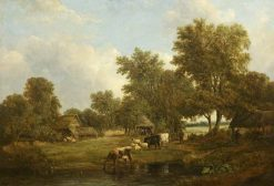 A Farmstead among Trees | Alfred Vickers | Oil Painting