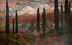 Town in the Mountains with Poplars | Roger Eliot Fry | Oil Painting