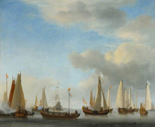 A Dutch State Barge under Oars with bezan Yachts under Sail | Willem van de Velde the Younger | Oil Painting