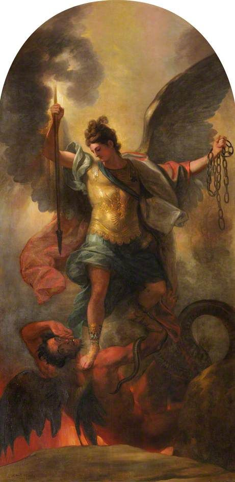 Archangel Michael Binding the Devil | Benjamin West | Oil Painting
