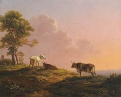 Cows and a Tree on the Crest of a Hill against a Sunset | Simon Denis | Oil Painting