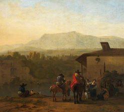 Halt at an Italian Winehouse Door | Carel Dujardin | Oil Painting