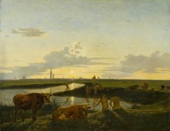 Canal Landscape with Figures Bathing | Hendrick ten Oever | Oil Painting