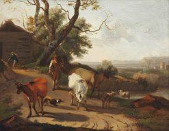 A Herdsman Driving Cattle down a Lane | Nicolaes Berchem | Oil Painting