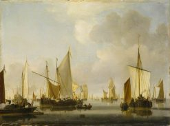 Fishing Boats in a Calm | Willem van de Velde the Younger | Oil Painting