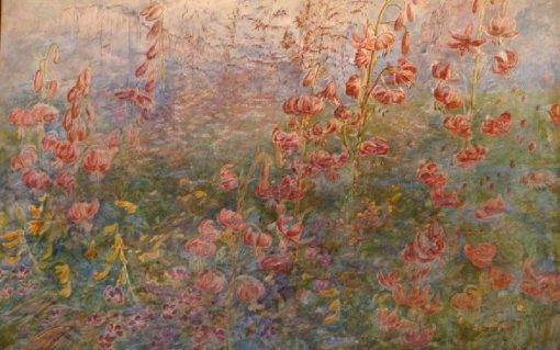 Red Lilies on Blue Ground | Christiana Herringham | Oil Painting