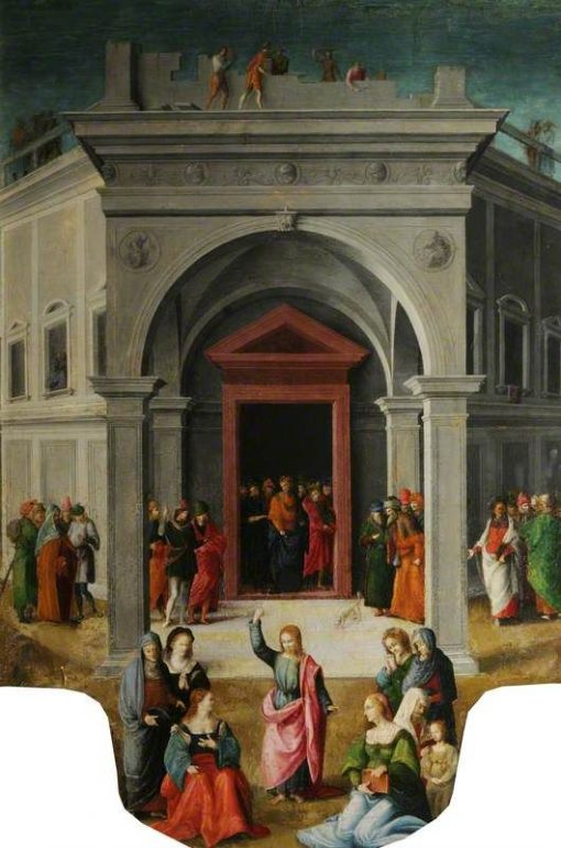 Christ Preaching Before a Temple (Raising of Lazarus?)   Il Bacchiacca   Oil Painting