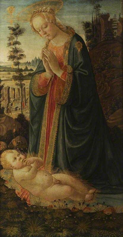 The Virgin Adoring the Child | Jacopo del Sellaio | Oil Painting