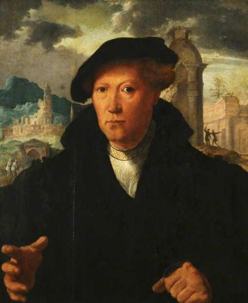 A Young Man Gesticulating with his Right Hand | Jan van Scorel | Oil Painting