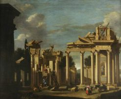 The Building of a Classical Temple in a Landscape | Marco Ricci | Oil Painting