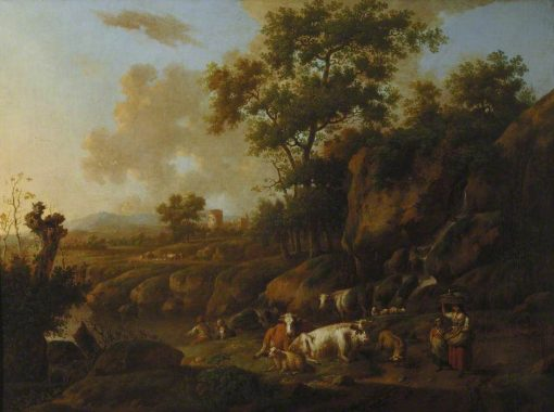 River Landscape with Figures and Animals | Jan Wijnants | Oil Painting