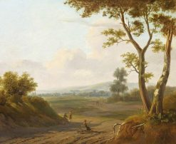 A Ploughman and Other Figures in an Extensive Landscape | Hendrik Frans van Lint | Oil Painting